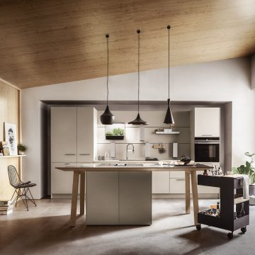 Einbauküche Lack matt mit Arbeitstisch und Kochfeldabzug, Küchenzeile mit Paneelsystem
