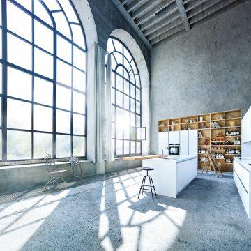 Küchenplanung für ein Loft, Designerküche grifflos mit Griffmulde, weiß matt kombiniert mit Eiche hell