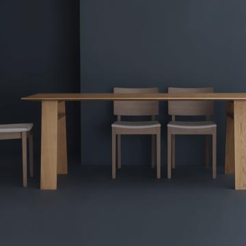 Tischgruppe mit Tisch Bondt von Zeitraum und passende Stühle mit gepolsterter Sitzfläche