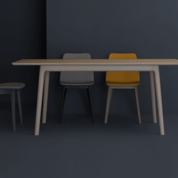 Tischgruppe in Holz lasiert mit den Stühlen Morph von Zeitraum