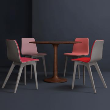 Massivholz-Tischgruppe Turntabel, Sessel Morph von Zeitraum mit Auflage-Sitzpolster